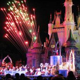 Fireworks at the Magic Kingdom in Disneyland in California