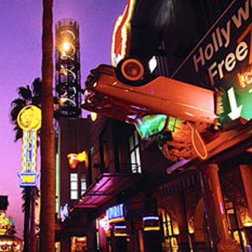 Neon lights at night in Universal Studios