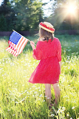 girl with patriotic flag